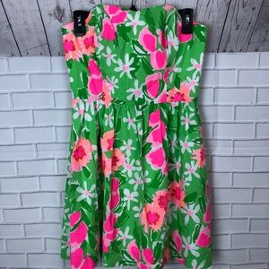 Lilly Pulitzer Floral Strapless Dress Size 4